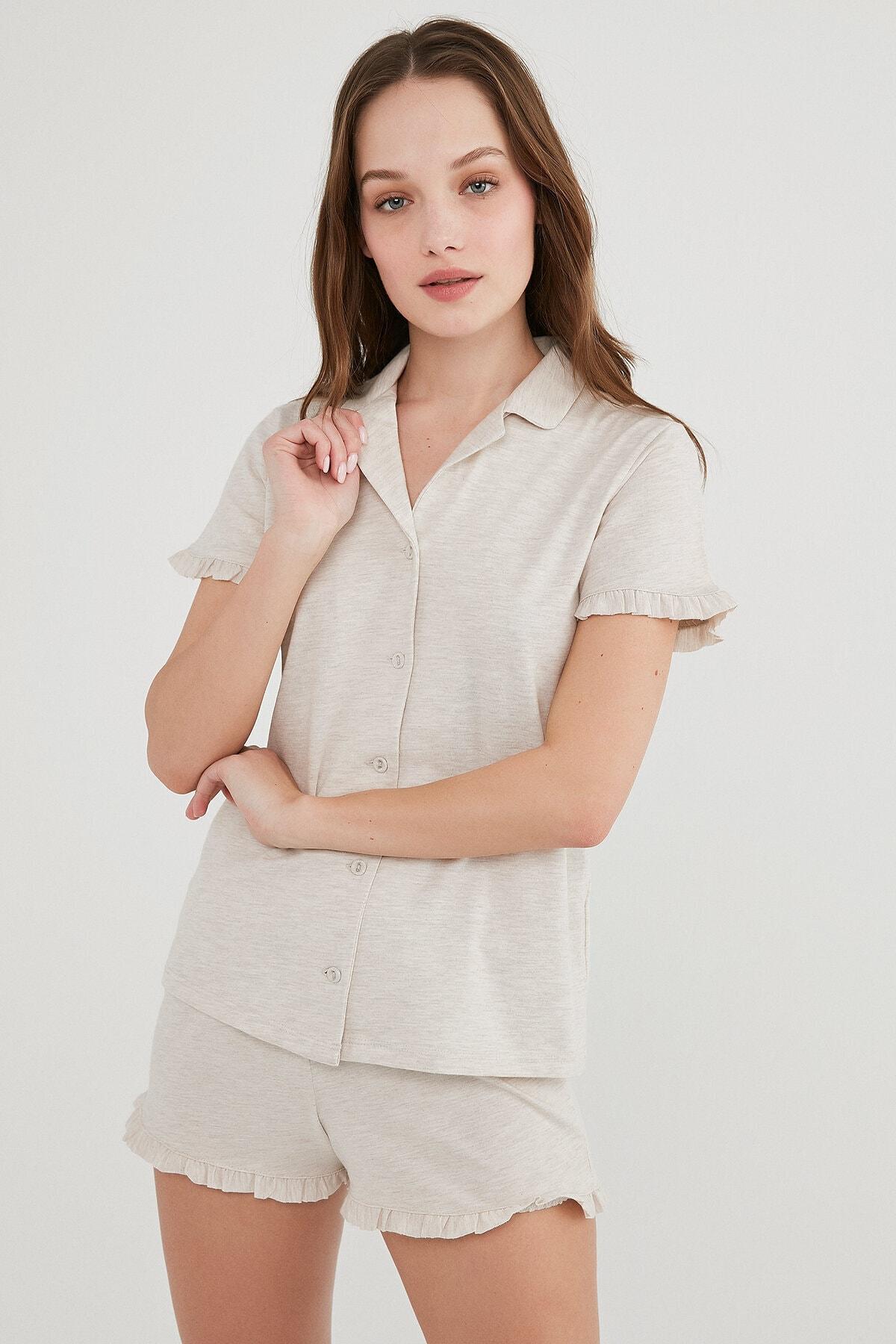 Penti Kadın Ten Melanj Gömlek Şort Pijama Takımı 1