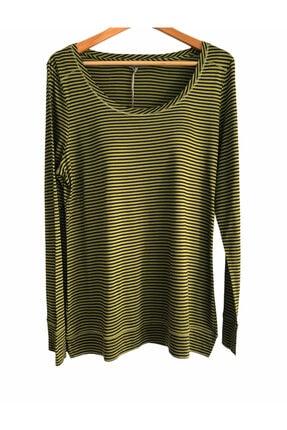 Laura Ashley Uzun Kol Yeşil-siyah Çizgili Bluz