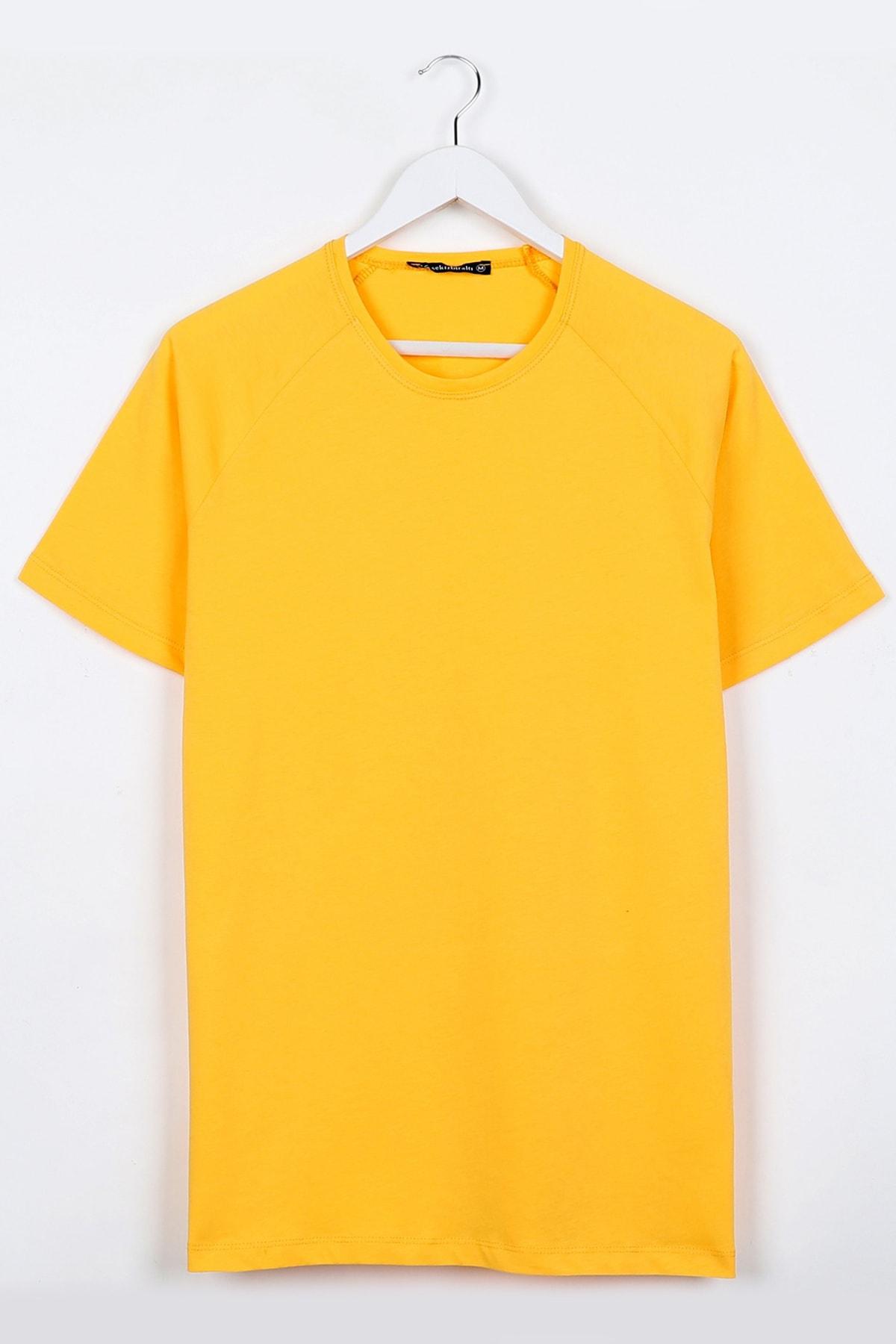 Sekizbiraltı Sarı Reglan Kol Basic Unisex Tshirt 1