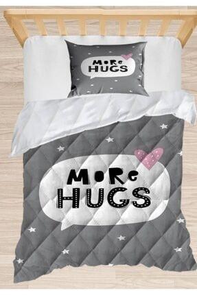 Else Halı Else Gri Beyaz Kucaklama Yıldız 3d Desenli Tek Kişilik Çocuk Yorgan Uyku Seti