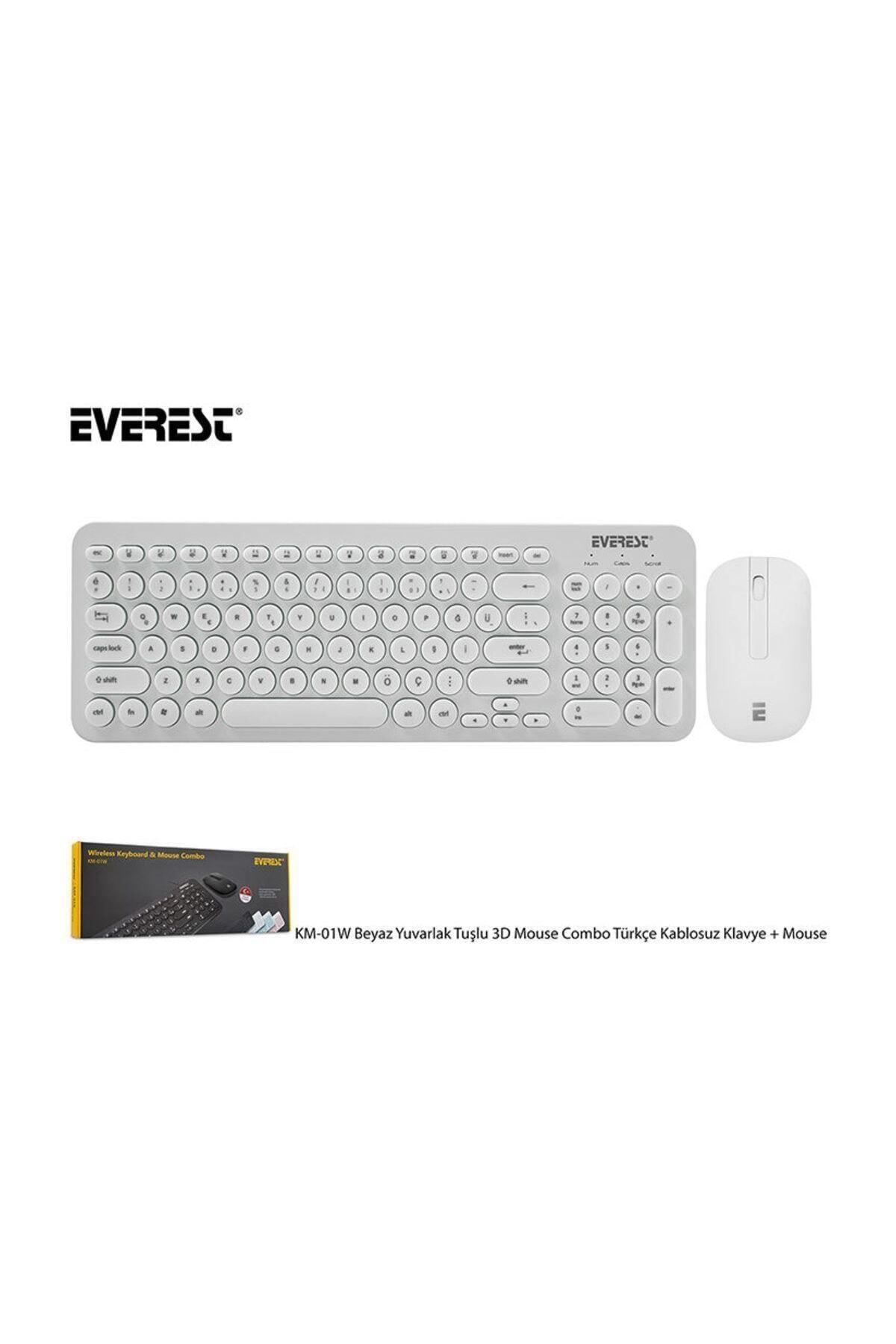 Everest Km-01w Beyaz Yuvarlak Tuşlu 3d Mouse Combo Türkçe Kablosuz Klavye + Mouse 1