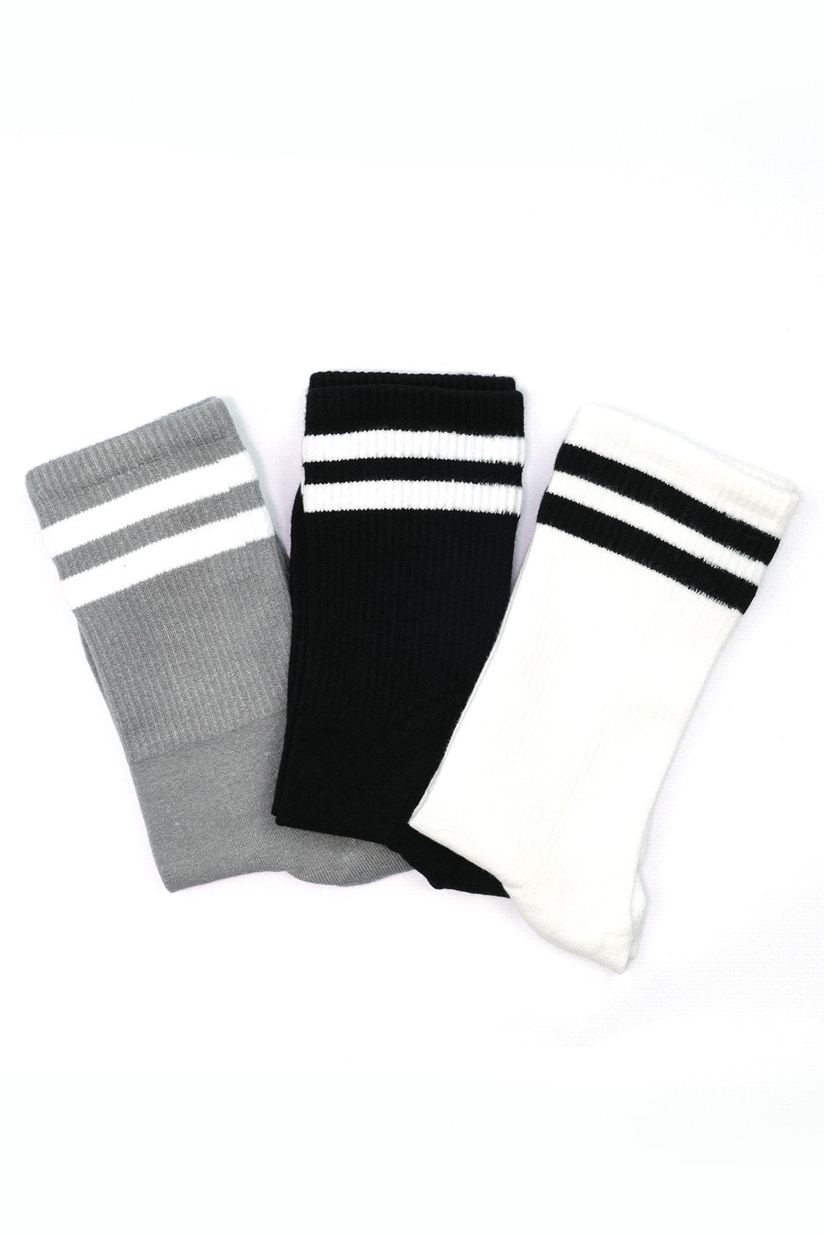 Moodligo Premium 6'lı Bambu Kadın Tenis Çorap - 2 Siyah 2 Gri 2 Beyaz 2