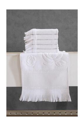 Fiesta 30 X 50 Etamın Jakarlı Sacaklı Soft Havlu 12'lı - Beyaz - Standart
