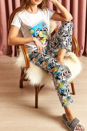 Hadise Kadın Beyaz Bugs Bunny Tweety Baskılı Pijama Takımı