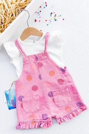 Babymod Kız Bebek Pembe Puantiye Baskılı Tulum Salopet Takım