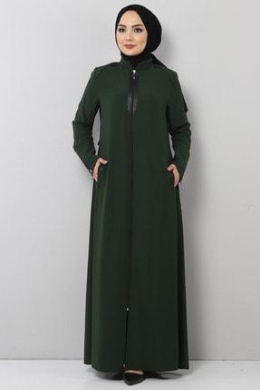 Tesettür Dünyası Fermuar Detaylı Tesettür Elbise Tsd2201 Yeşil
