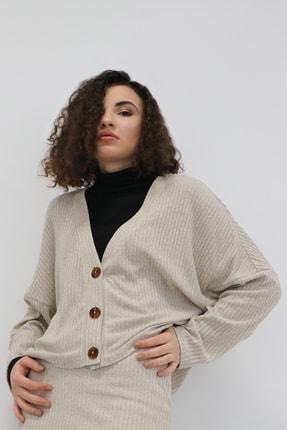 COFL Circle of Life Kadın Kar Melanj Düğmeli Ceket