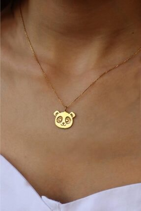 dalmarkt Panda Tasarım Kolye Gold Kaplama 925 Ayar Gümüş