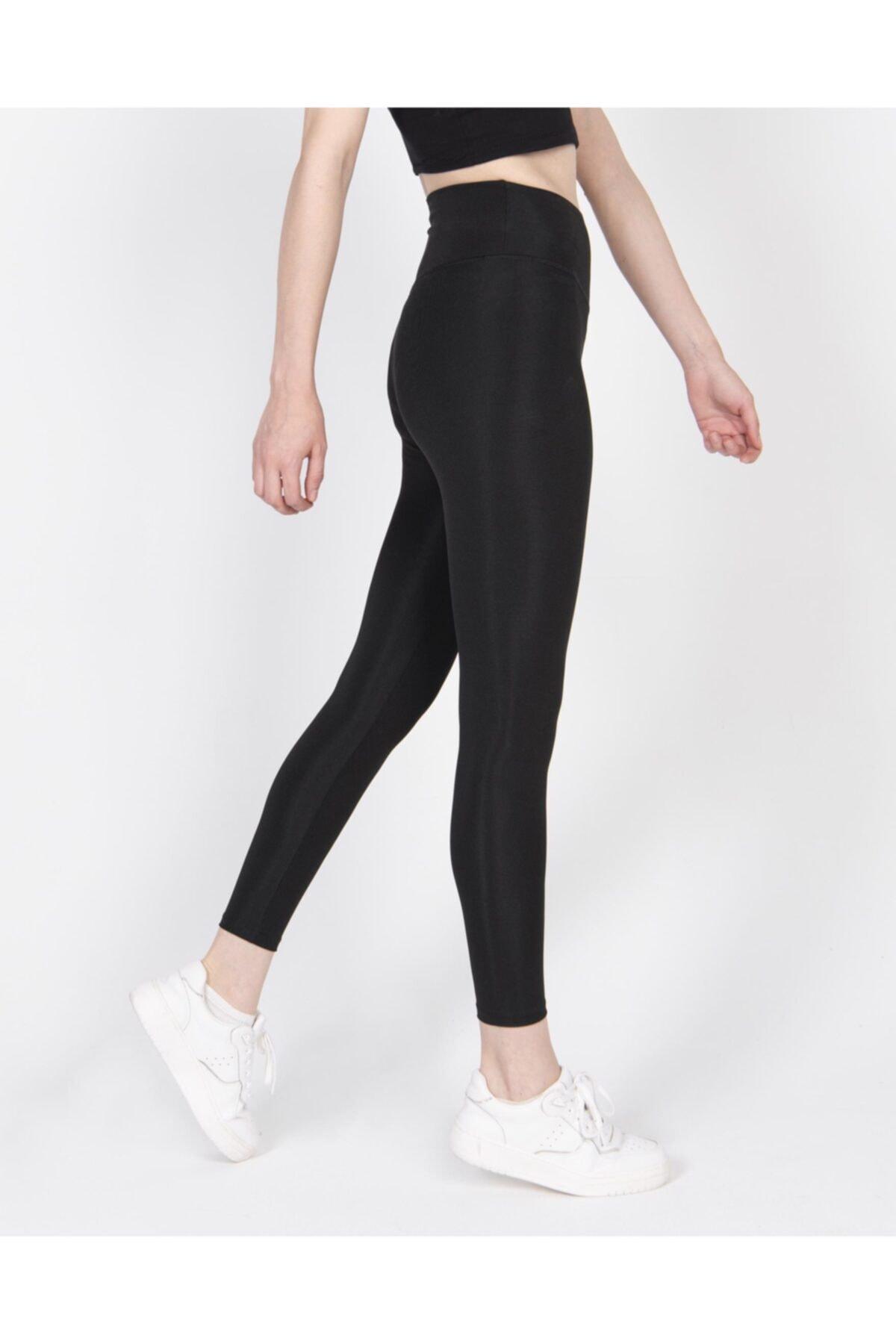 Barpo Giyim Kadın Siyah Disko Yüksek Bel Toparlayıcı Günlük Spor Şık Rahat Push Up Slim Fit Parlak Disco Tayt 2