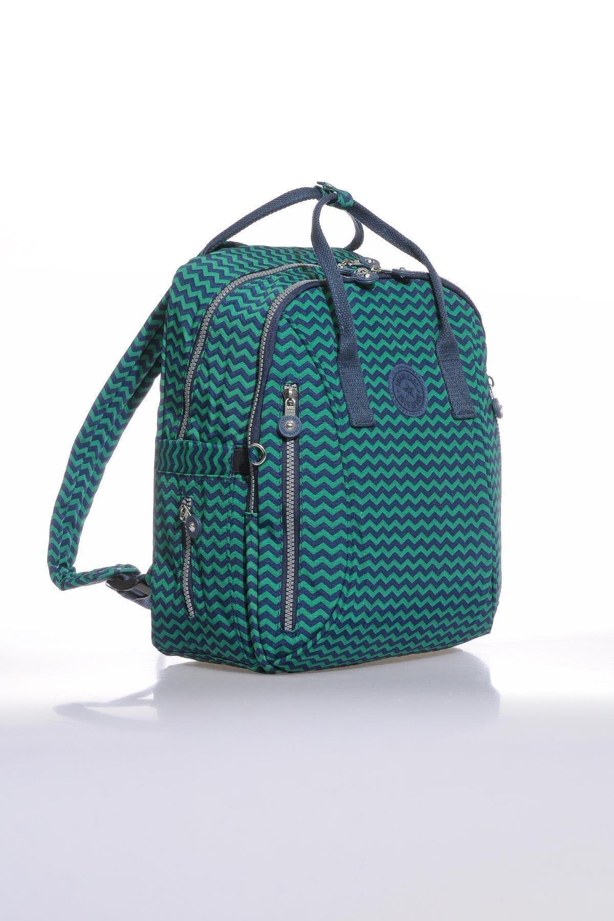 SMART BAGS Kadın Lacivert Yeşil Smb1220-0066 Sırt Çantası 2