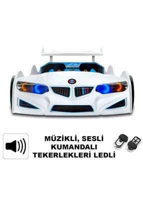 Arabalı Yatak Bmw - Full - Araba Karyola - Tekerleri Ledli - Beyaz