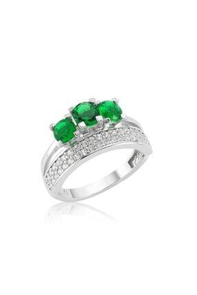 Gumush Gümüş Yeşil Üç Taş Tria Bayan Yüzük