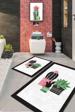 EVİMOD Pink Tropical Pembe Gri Siyah Kaktüslü Yıkanabilir 2li Banyo Halısı Paspas Klozet Takımı X