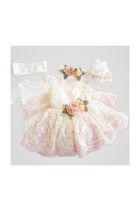 MINNIE Kız Bebek Pembe Fransız Dantelli Elbise