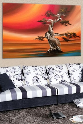 Talya Tablo Ağaç Yağlıboya Tarz Kanvas Tablo Salon Koridor Ofis Ve Yatak Odası