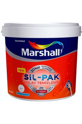 Marshall Sil-pak 10 Silinebilir Ipek Mat Su Bazlı Silikonlu Duvar Boyası 7,5lt=10kg Buz Gümüşü