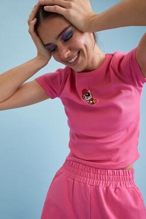 DeFacto Kadın Pembe Powerpuff Girls Lisanslı Bisiklet Yaka Crop Tişört