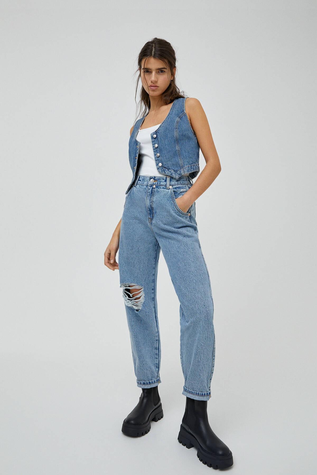 Pull & Bear Kadın Açık Mavi Basic Yüksek Bel Slouchy Jean 04681320