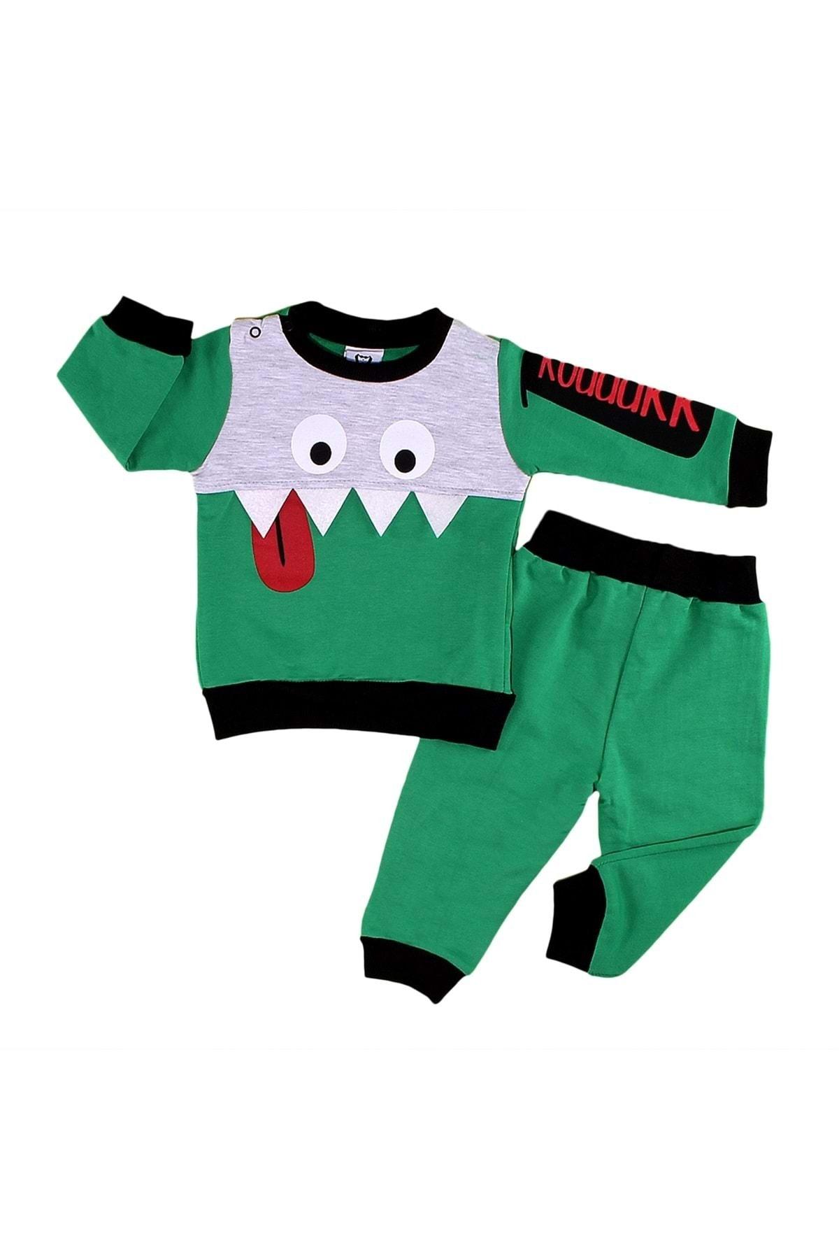 Babyboy Şımarık Canavar Baskılı 2li Erkek Bebek Takım - Yeşil - 9-12 Aylık 1