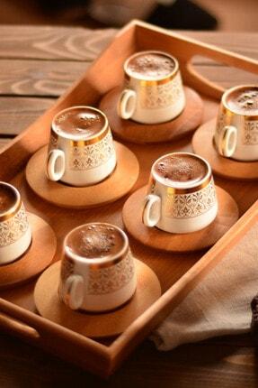Bambum Ottoman 6 Kişilik Kahve Takımı Altın Desenli B0174