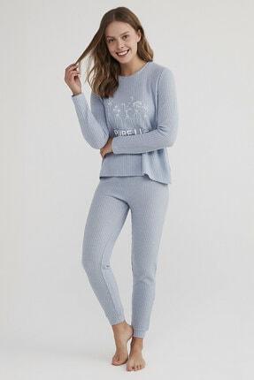 Penti Kadın Açık Mavi Pure Life Waffle Pijama Takımı