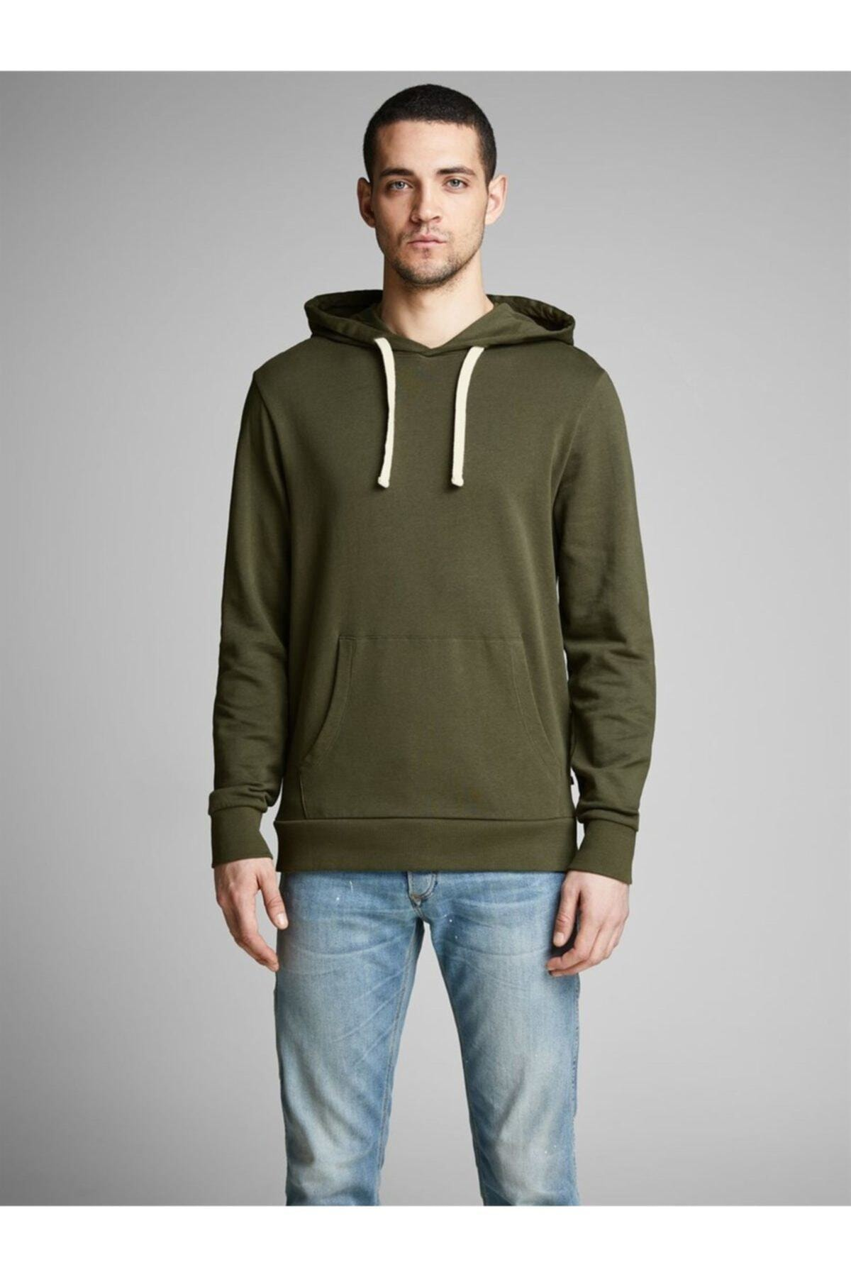 Jack & Jones Erkek Haki Holmen Sweat Hood Sweatshirt  12136885 1
