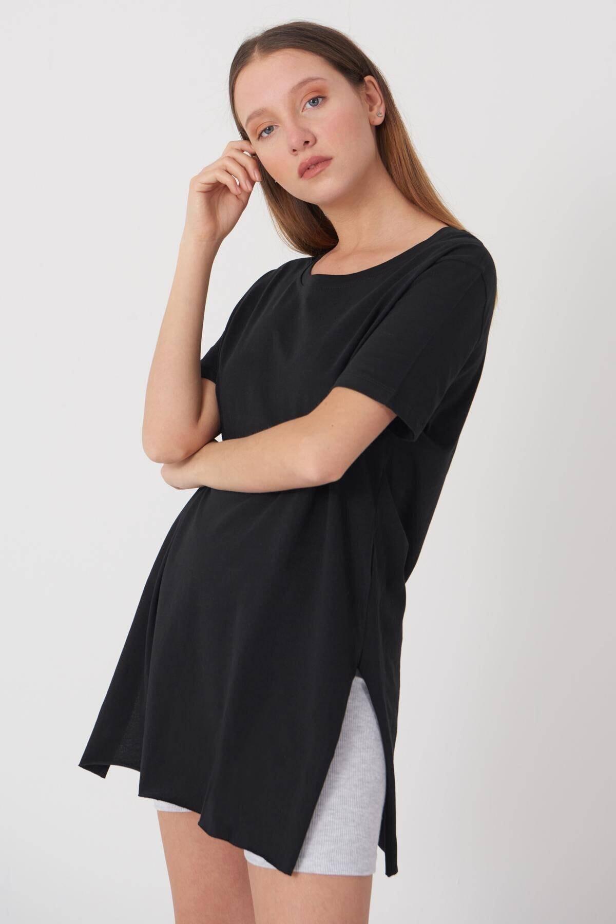 Addax Kadın Siyah Bisiklet Yaka T-Shirt P0101 - U4 - Z1 Adx-00007204 2