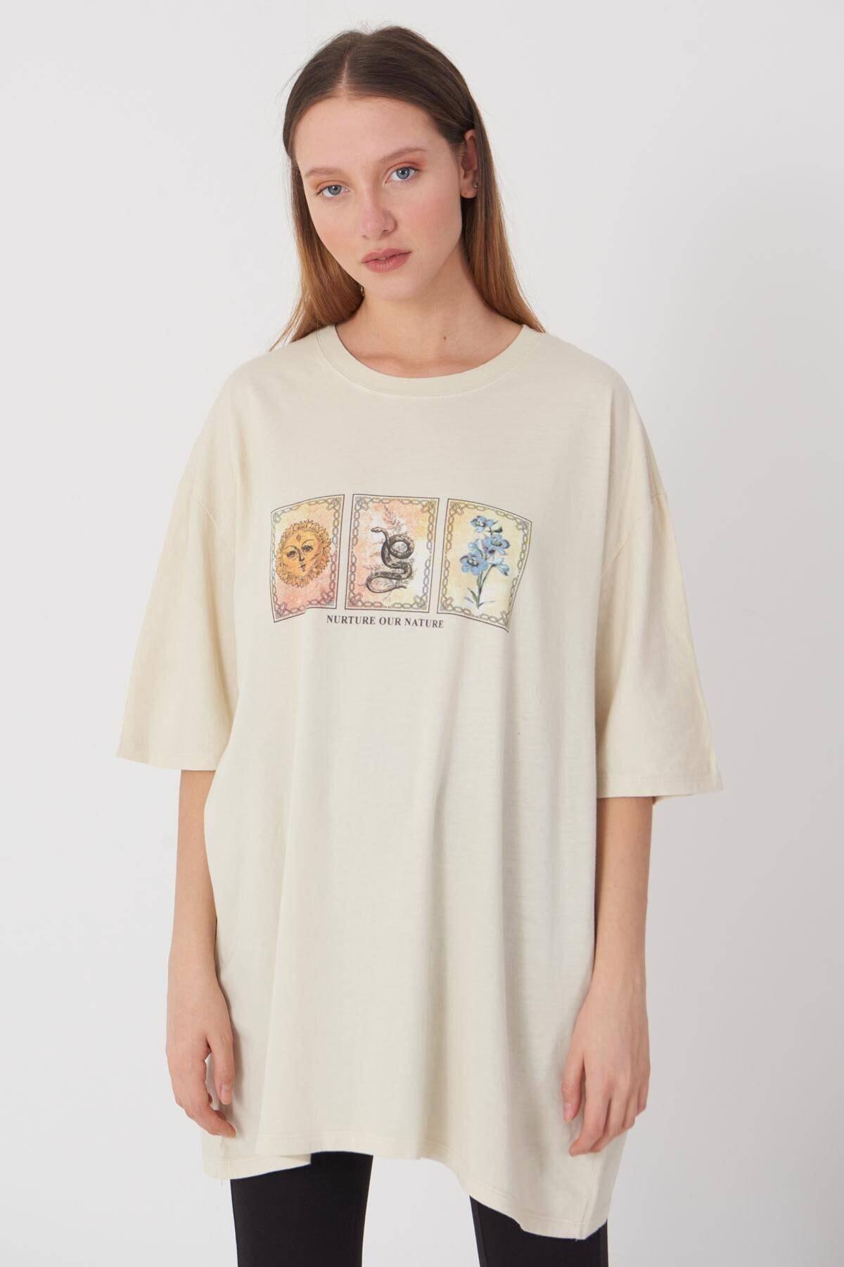 Addax Önü Baskılı T-shirt P9383 - D5