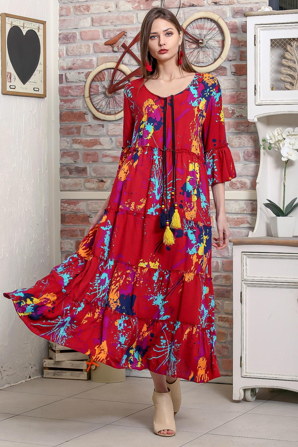 Chiccy Kadın Bordo Fırça Desenli Püskül Bağcıklı Kat Kat Salaş Uzun Elbise