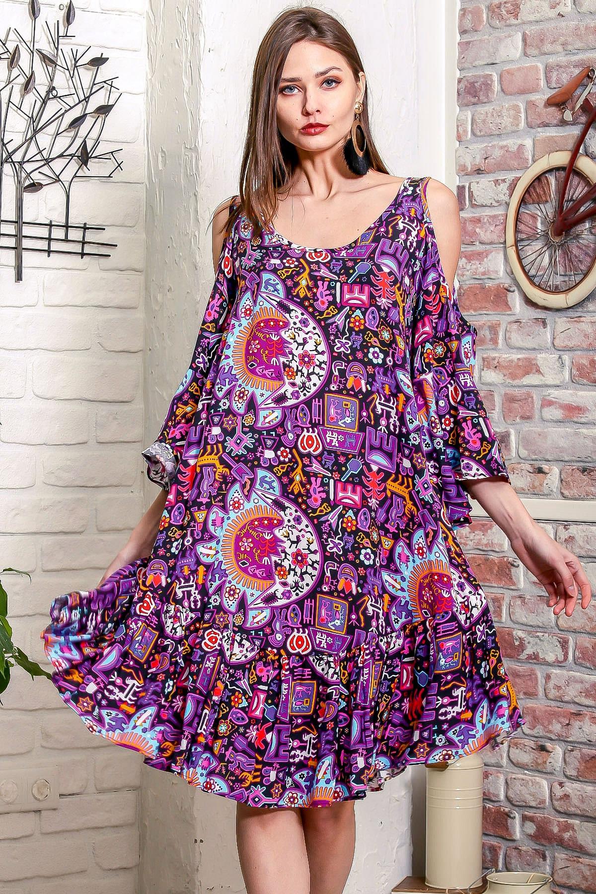 Chiccy Kadın Mor Omuzları Pencereli Güneş Desen Kolları Volanlı Salaş Elbise