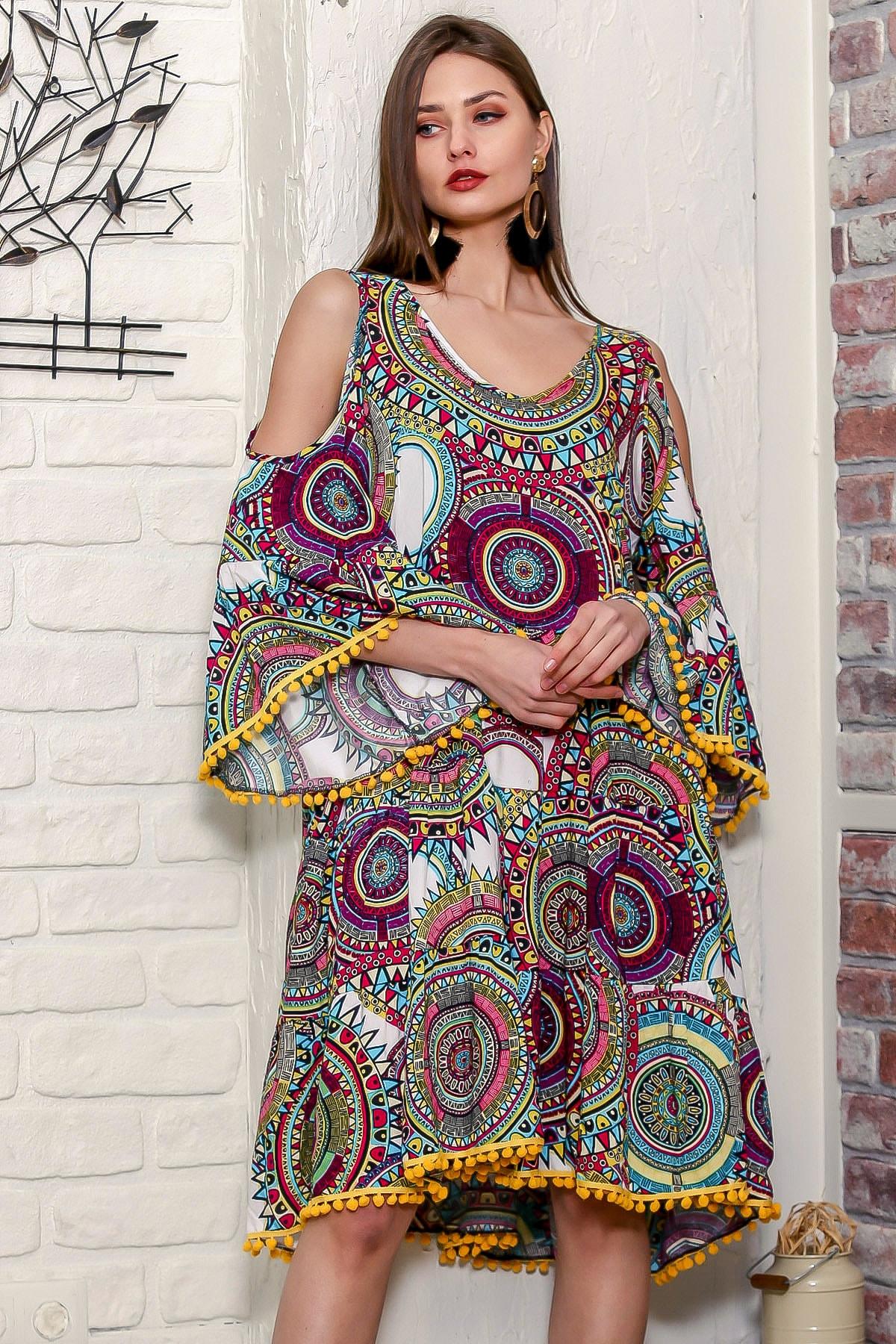Chiccy Kadın Yeşil Omuzları Pencereli Geometrik Desen Kolları Volanlı Ponponlu Salaş Elbise