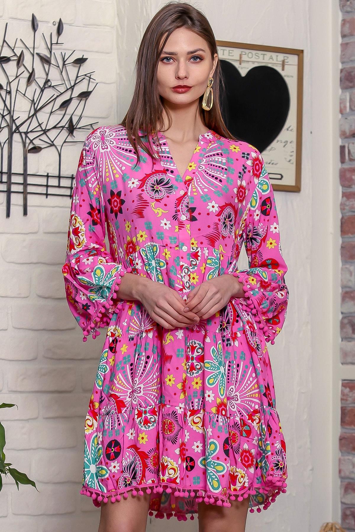Chiccy Kadın Pembe Patı Düğme Detaylı Kolları Ponponlu Salaş Elbise