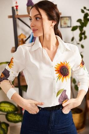armonika Kadın Turuncu Dijital Baskılı Gömlek ARM-21K106019