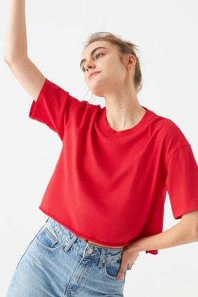 Mavi Kırmızı Crop Tişört
