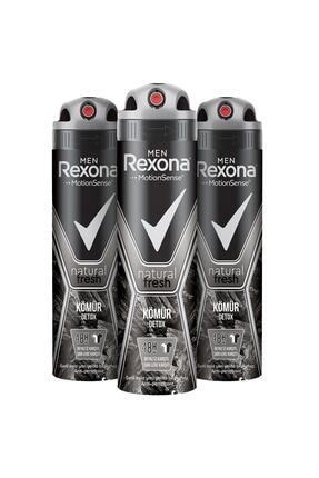 Rexona Men Natural Fresh Kömür Detox Erkek Sprey Deodorant 150 ml x3