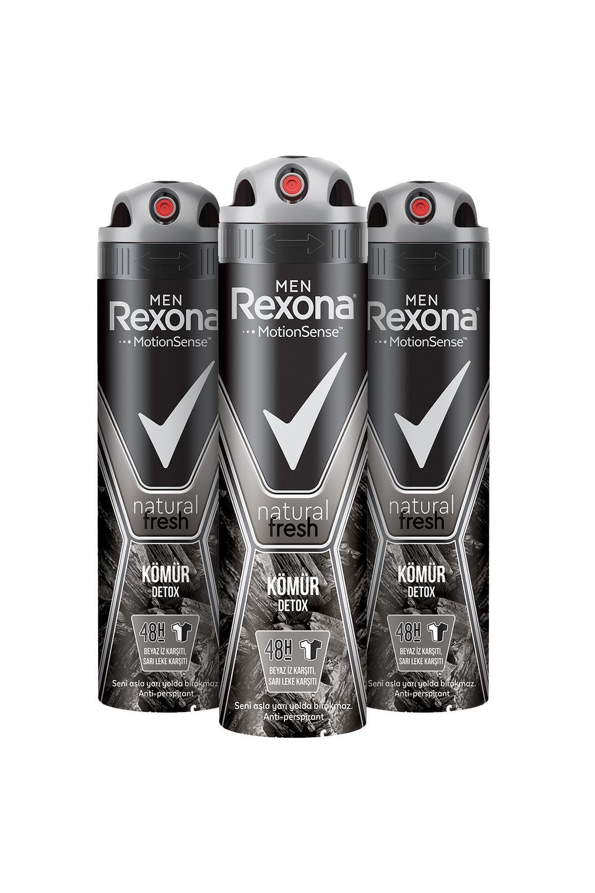 Rexona Men Natural Fresh Kömür Detox Erkek Sprey Deodorant 150 ml x3 1