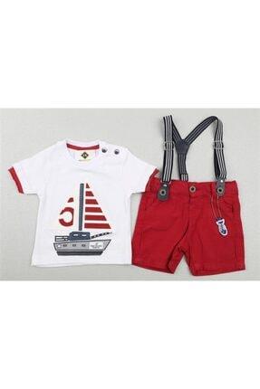 Sisero Erkek Bebek Kırmızı Gemi Baskılı Şortlu Takım