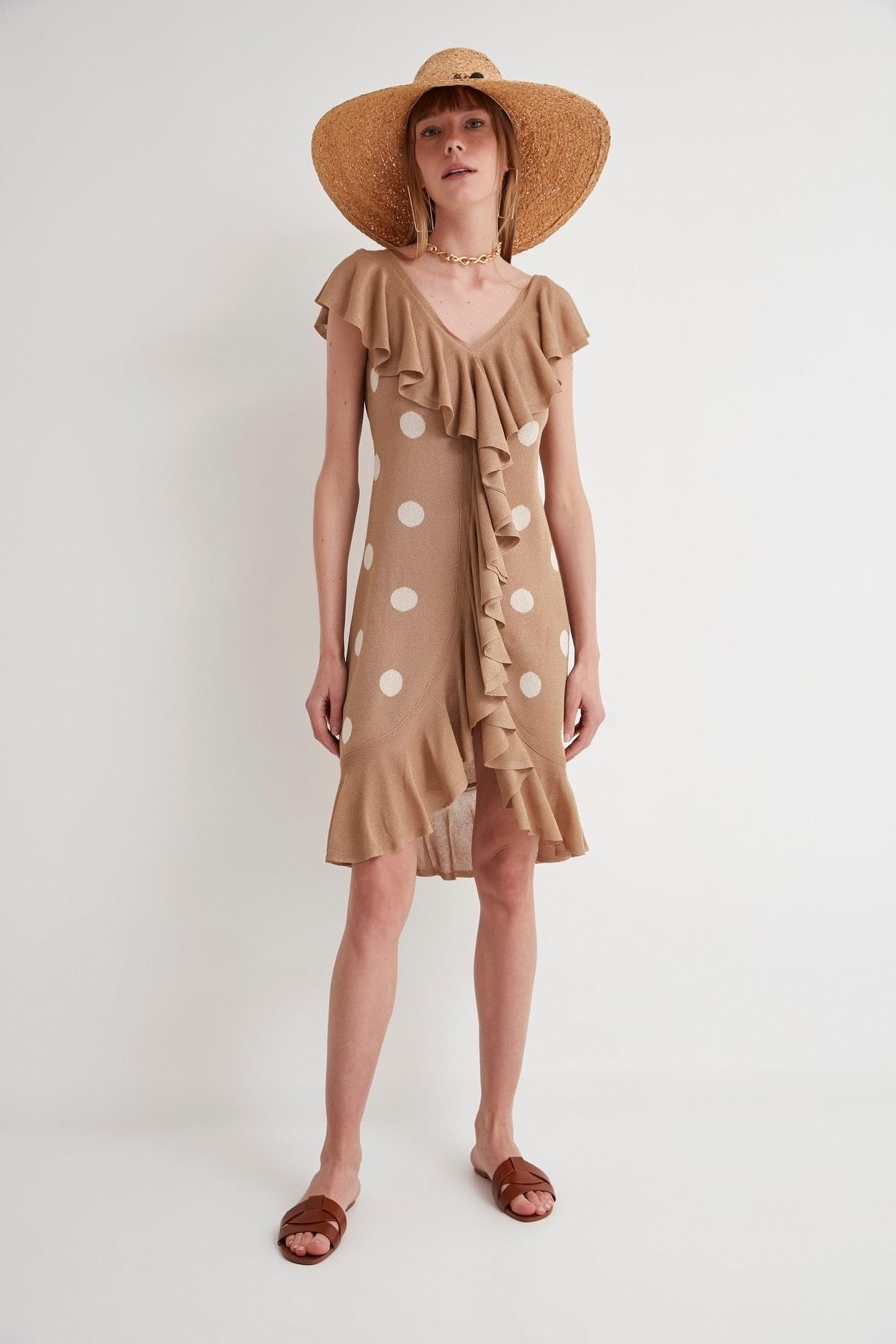 JOIN US Puantiyeli Fırfırlı V Yaka Triko Elbise-kahverengi 1