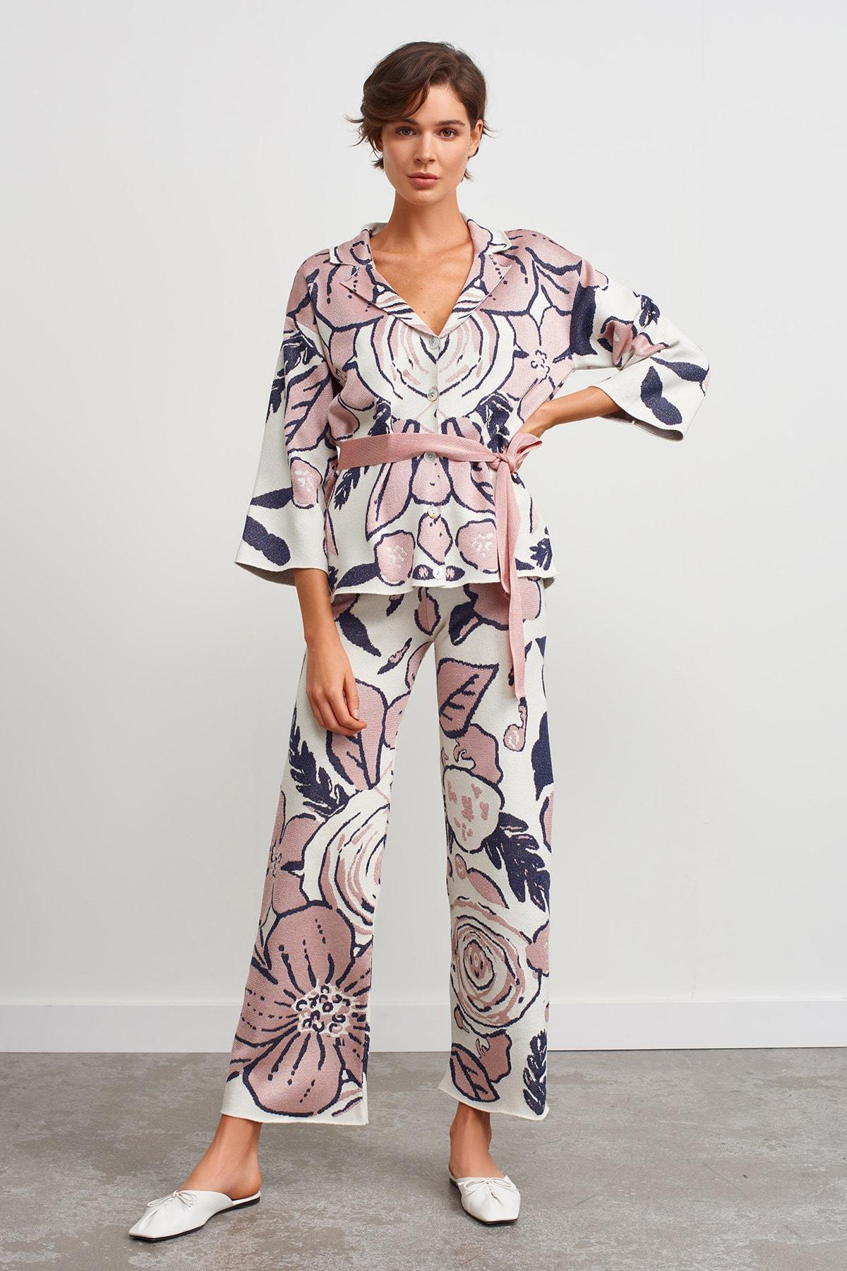 JOIN US Beli Lastikli Desenli Triko Pantolon-multi 1