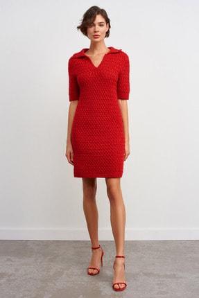 JOIN US Polo Yaka Simli Triko Elbise-kırmızı