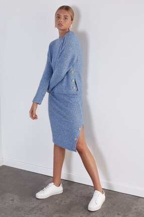 JOIN US Kadın Mavi Düğmeli Beli Lastikli Yanı Yırtmaçlı Triko Etek