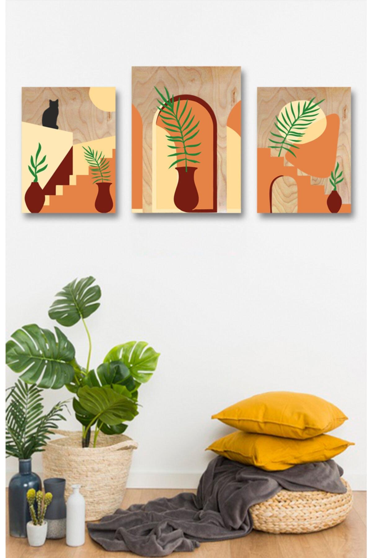 Lapis Home Decor Minimalist Bodrum Evler 3'lü Tablo Sayılarla Ahşap Boyama Set Hobi Seti 35x50 Cm 1