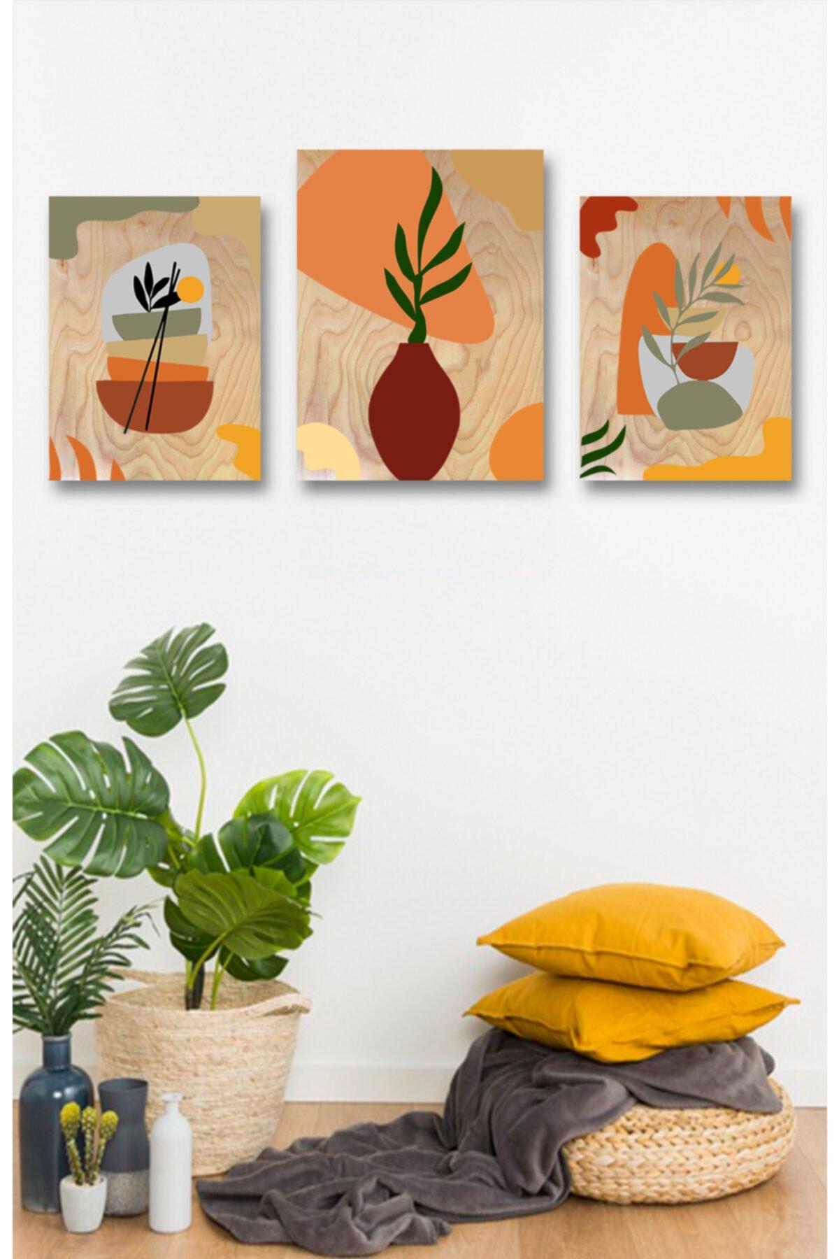 Lapis Home Decor Minimalist Case 3'lü Tablo Set Sayılarla Ahşap Boyama Seti Hobi Seti 35x50 cm 1