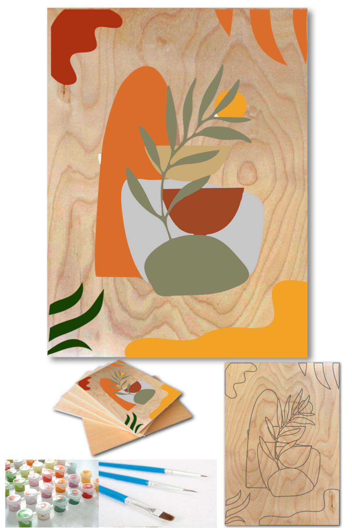 Lapis Home Decor Minimalist Case 3'lü Tablo Set Sayılarla Ahşap Boyama Seti Hobi Seti 35x50 cm 2