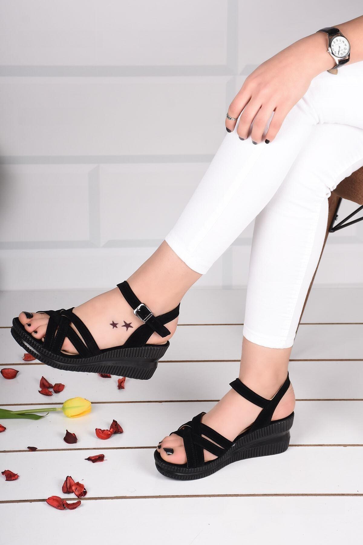mihra home Kadın Topuklu Sandalet Terlik Siyah Süet Bilekten Bağlamalı 2