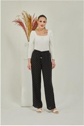 Modaceda Kadın Siyah Bol Paça Desenli Beli Lastikli Pantolon