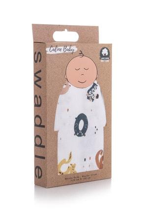 Caline Baby Müslin Bezi Örtü Sayı Desen - Kahve 120x120 Cm + 4 Adet Ağız Mendili