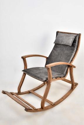 TOKKO Lucca Ahşap Formlu Sallanan Sandalye - Dinlenme Kitap Okuma Tv Koltuğu Gri