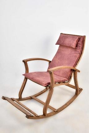 TOKKO Lucca Ahşap Formlu Sallanan Sandalye - Dinlenme Kitap Okuma Tv Koltuğu Pembe