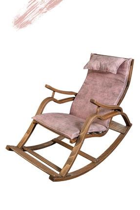 TOKKO Oslo Ahşap Formlu Sallanan Sandalye - Dinlenme Kitap Okuma Tv Koltuğu Pembe